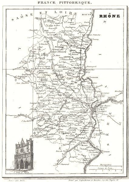 Associate Product RHÔNE. Département du Rhône 1835 old antique vintage map plan chart