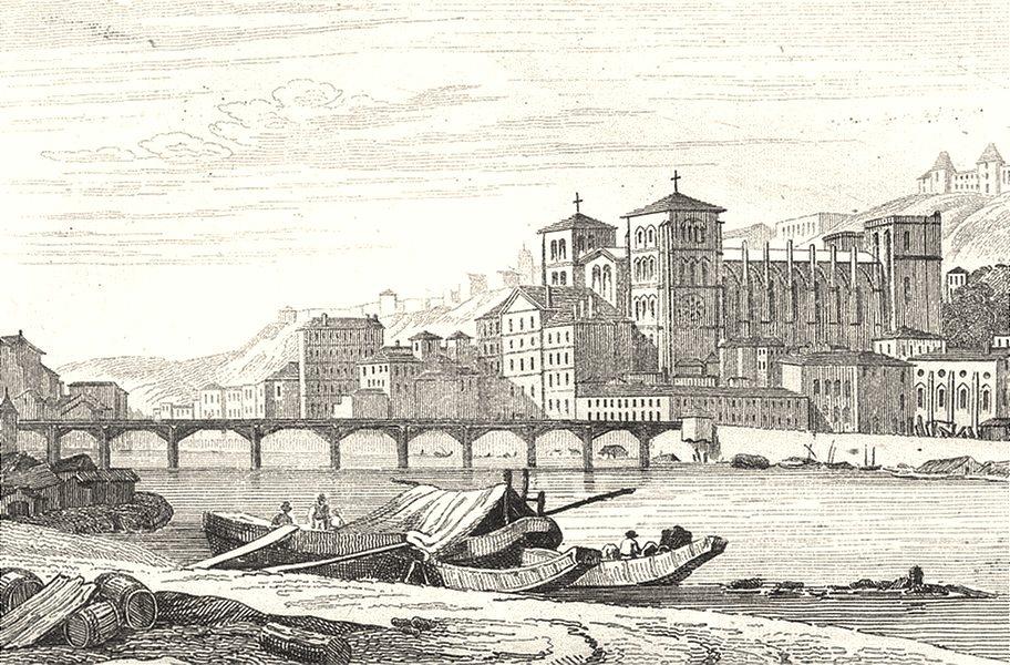 Associate Product RHÔNE. Lyon Eglise St. Jean 1835 old antique vintage print picture