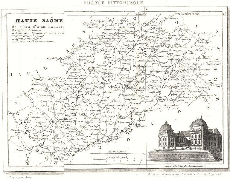 Associate Product HAUTE-SAÔNE. Département de la Haute-Saône 1835 old antique map plan chart