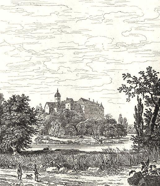 Associate Product SARTHE. Abbaye de Soleme 1835 old antique vintage print picture
