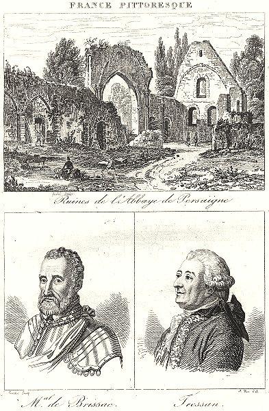 Associate Product SARTHE. Ruins L'abbaye Persaigne; Mal. Brissac; Tressan 1835 old antique print