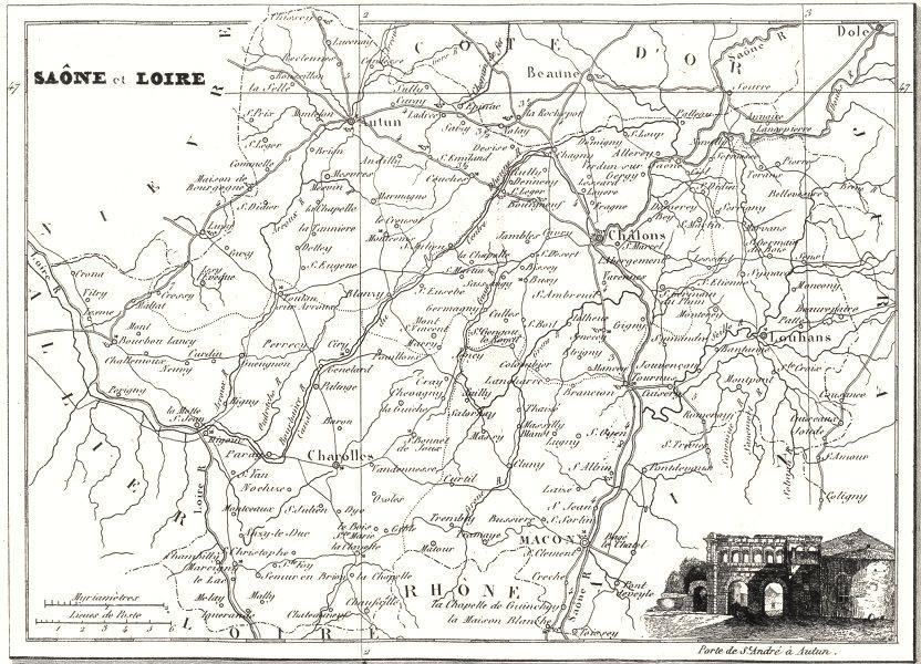 Associate Product SAÔNE-ET-LOIRE. Departement de Saône-et-Loire 1835 old antique map plan chart