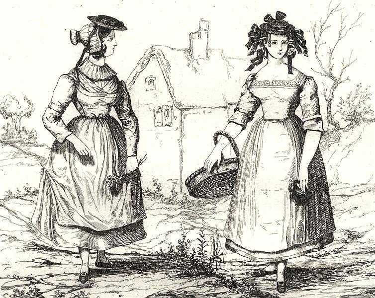 SAÔNE-ET-LOIRE. Costumes de Saône-Et-Loire 1835 old antique print picture