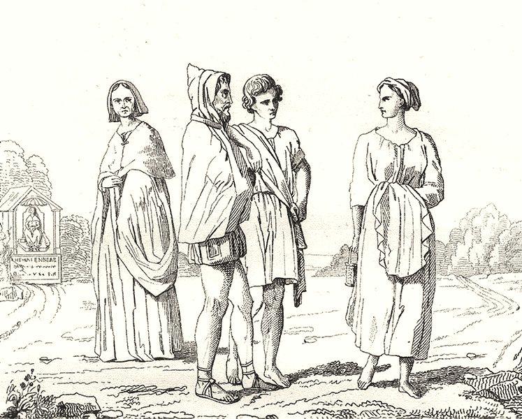 Associate Product PARIS. Paris. Costumes du IVe Siècle 1835 old antique vintage print picture