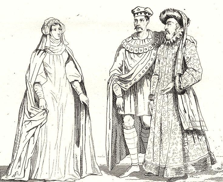 Associate Product PARIS. Paris. Costumes du Xe au XIIe Siecle 1835 old antique print picture