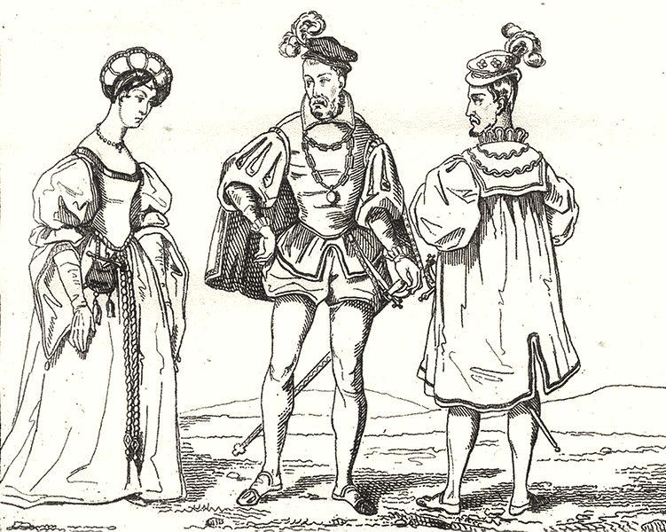 Associate Product PARIS. Paris. Costumes du XVIe Siècle 1835 old antique vintage print picture