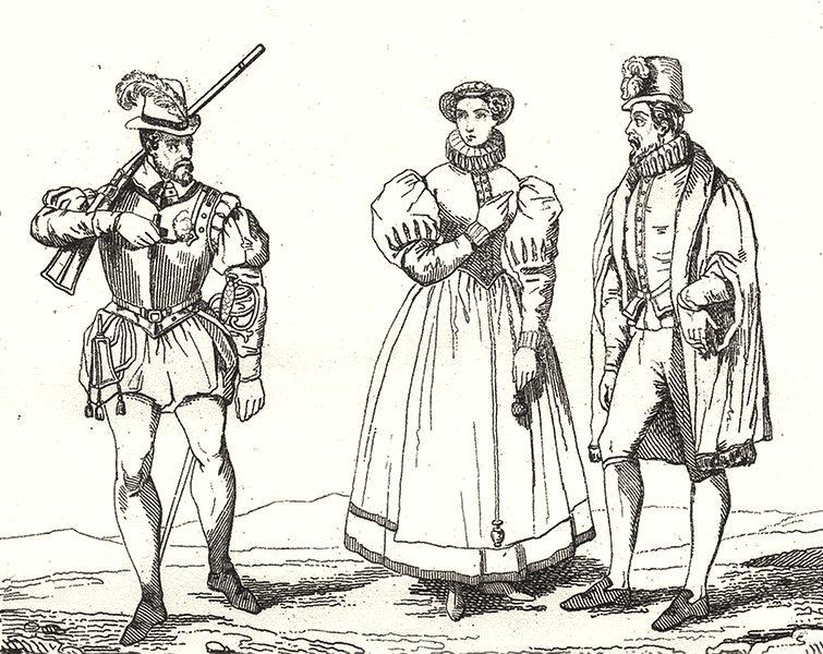 Associate Product PARIS. Paris. Costumes du temps de la Ligue 1835 old antique print picture