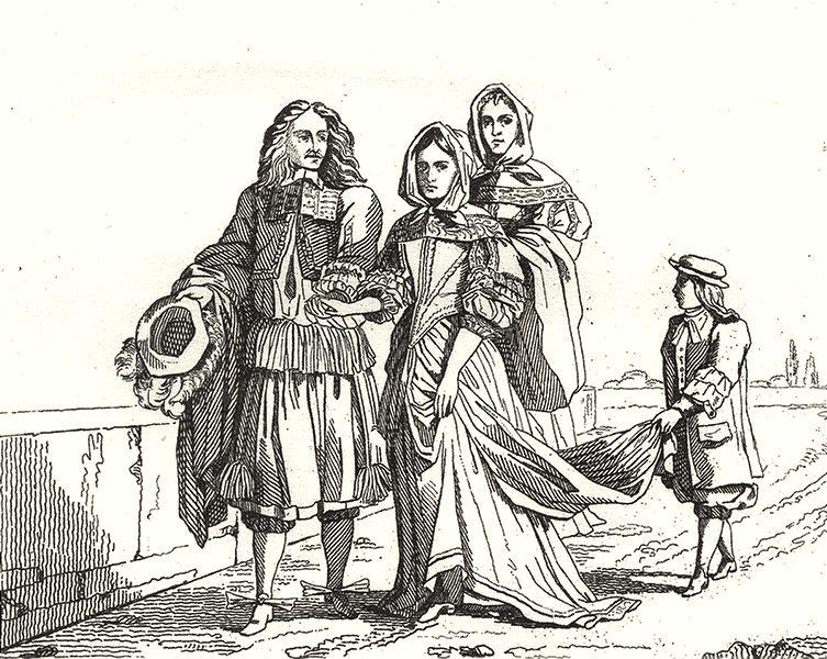 Associate Product PARIS. Paris. Costumes du XVIIe Siècle 1835 old antique vintage print picture