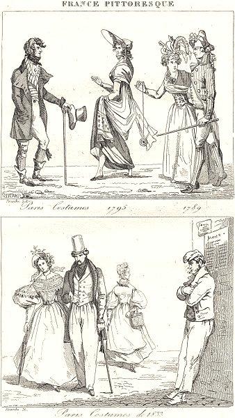 Associate Product PARIS. Paris Costumes 1795 1789; Paris Costumes de 1833 1835 old antique print