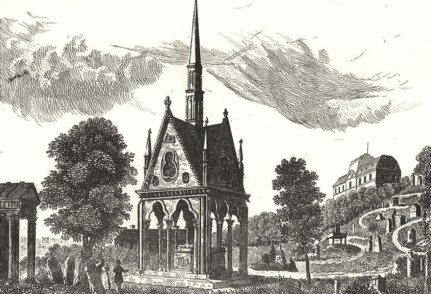 Associate Product PARIS. Tombeau d' Héloïse et d' Abeïlard Limetière de l'Est 1835 old print