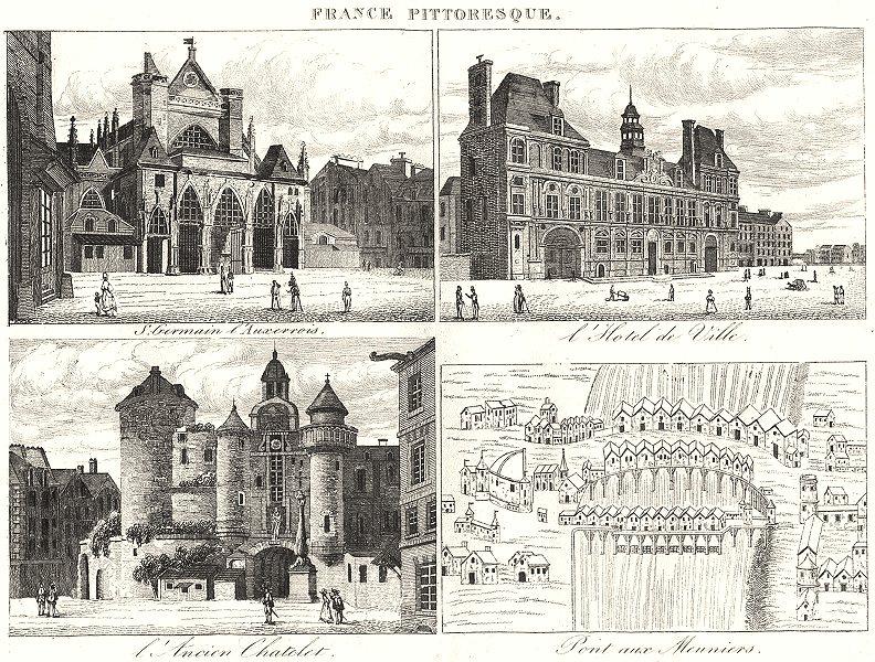 Associate Product PARIS.S.Germain l'Auxerrois;L'Hotel Ville;L'Ancien Chatelet;Pont Meuniers 1835