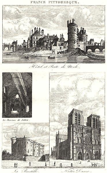 Associate Product PARIS. Hôtel Porte de nesle; Thermes Julien; Bastille; Notre Dame 1835 print
