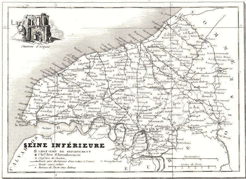 Associate Product SEINE-MARITIME. Departement de la Seine-Inférieure 1835 old antique map chart
