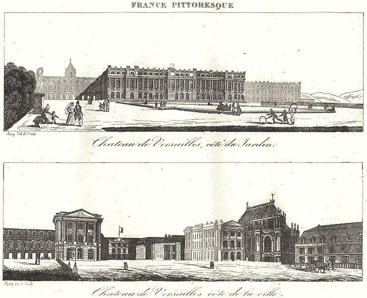 Associate Product YVELINES. Seine-et-Oise. Chateau Versailles, Côté Jardin Ville 1835 old print