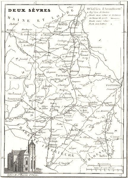 Associate Product DEUX-SÈVRES. Departement de Deux-Sèvres 1835 old antique map plan chart