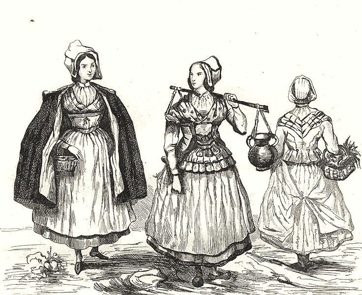 Associate Product DEUX-SÈVRES. Costumes des Deux-Sèvres 1835 old antique vintage print picture