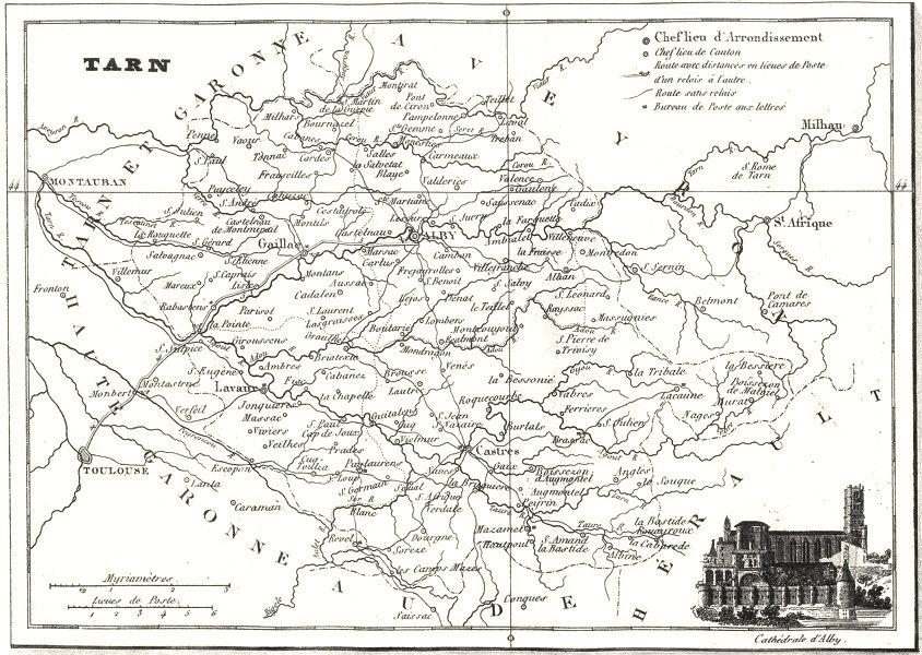 Associate Product TARN. Département du Tarn 1835 old antique vintage map plan chart