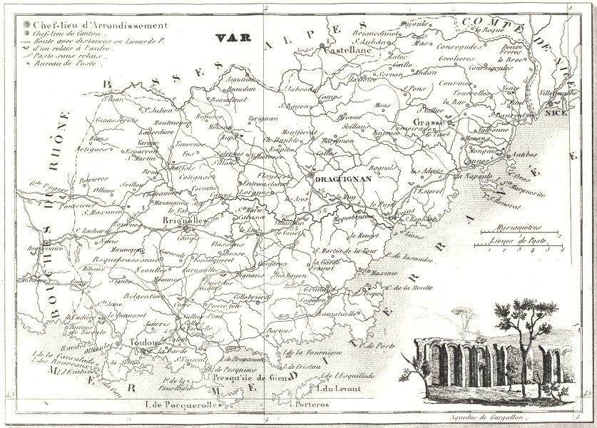 Associate Product VAR. Département du Var 1835 old antique vintage map plan chart