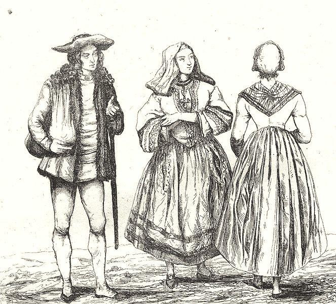 Associate Product VENDÉE. Costumes de la Vendée 1835 old antique vintage print picture