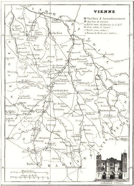 Associate Product FRANCE. Département de la Vienne 1835 old antique vintage map plan chart