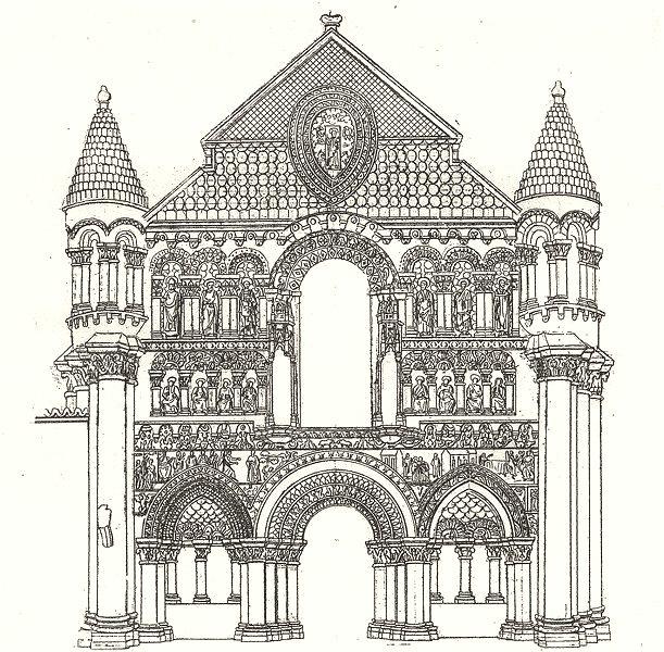 Associate Product VIENNE. Portail de notre Dame de Poitiers 1835 old antique print picture