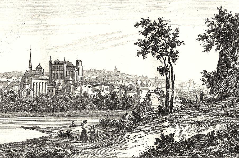 Associate Product VIENNE. Poitiers 1835 old antique vintage print picture
