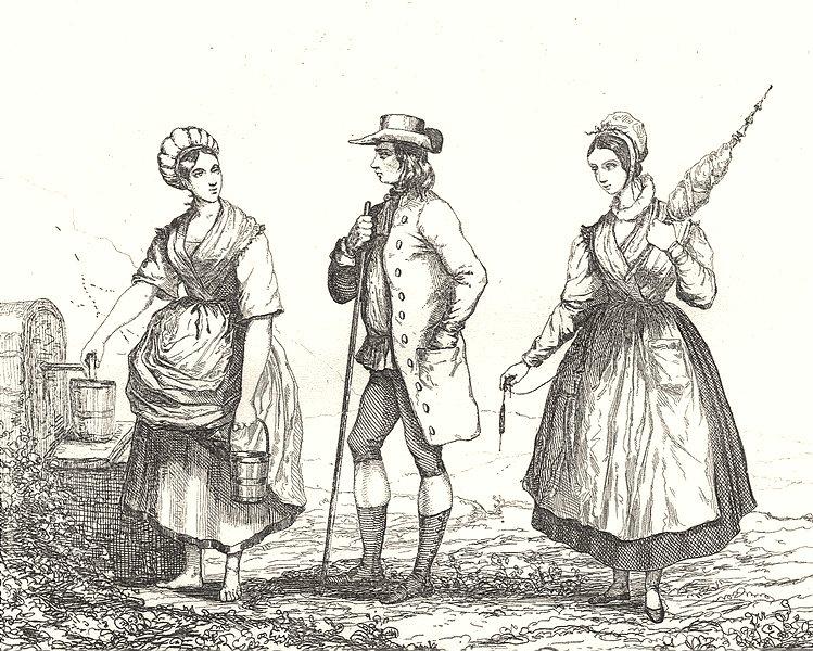 Associate Product VOSGES. Costumes des Vosges 1835 old antique vintage print picture