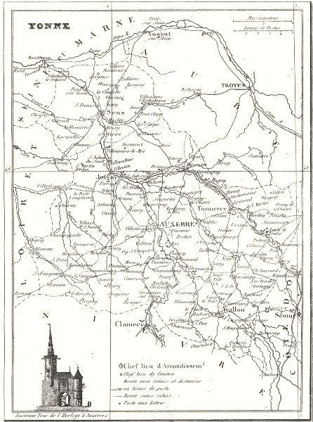 YONNE. Département de I'Yonne 1835 old antique vintage map plan chart