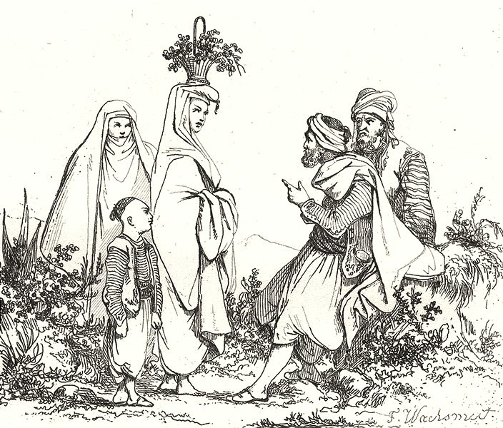 Associate Product ALGERIA. État d'Alger. Costumes Algériens 1835 old antique print picture