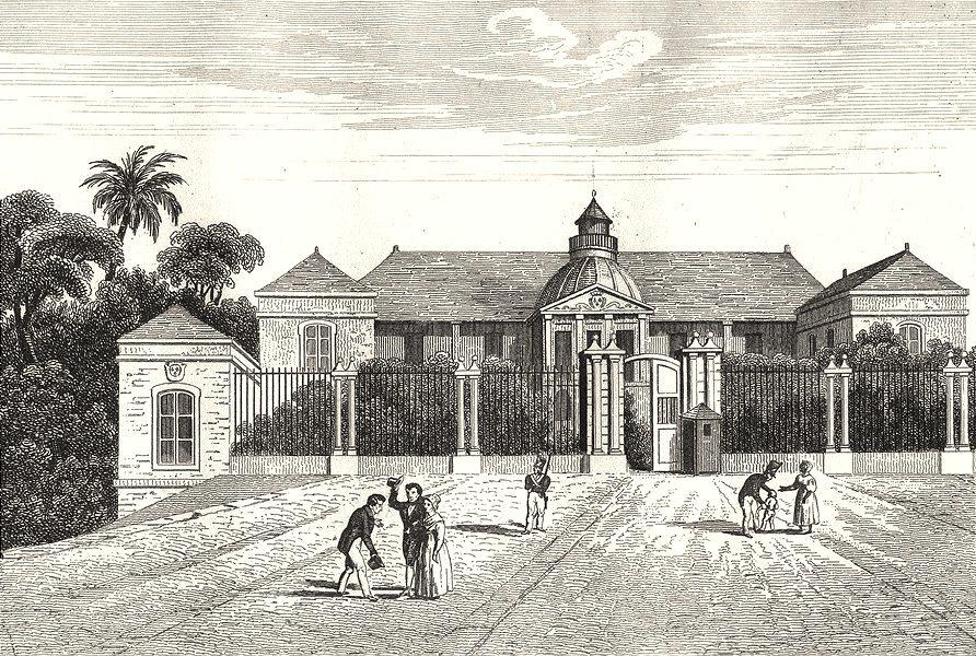 Associate Product RÉUNION. Île Bourbon (Reunion) . St Denis. Hotel du Gouvernemt 1835 old print