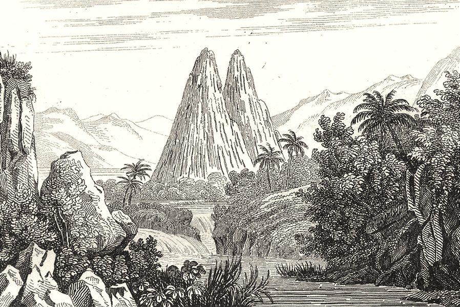 Associate Product RÉUNION. Île Bourbon (Reunion) . Bassin Chiles dans Bras Plaine 1835 old print