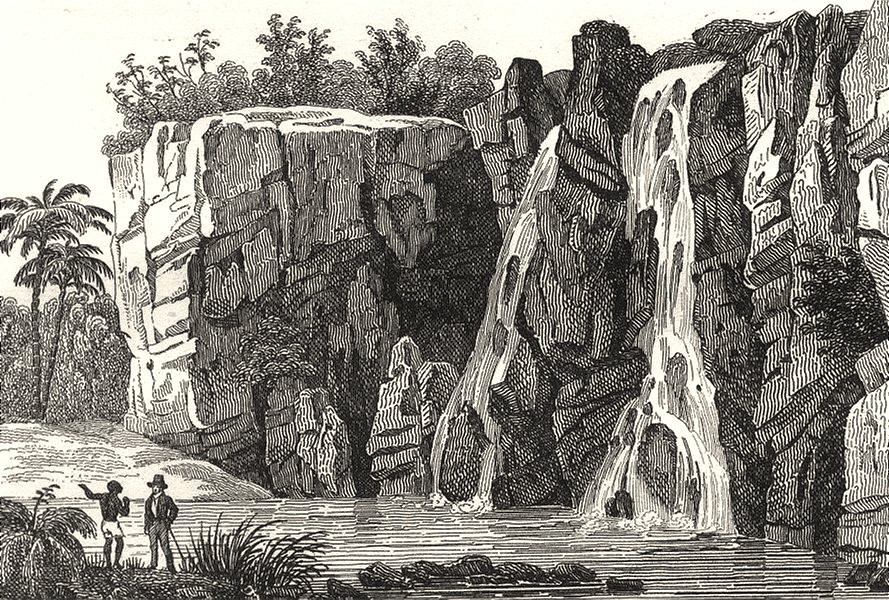 RÉUNION. Île Bourbon (Reunion) . Cascade de la Ste. Suzanne 1835 old print