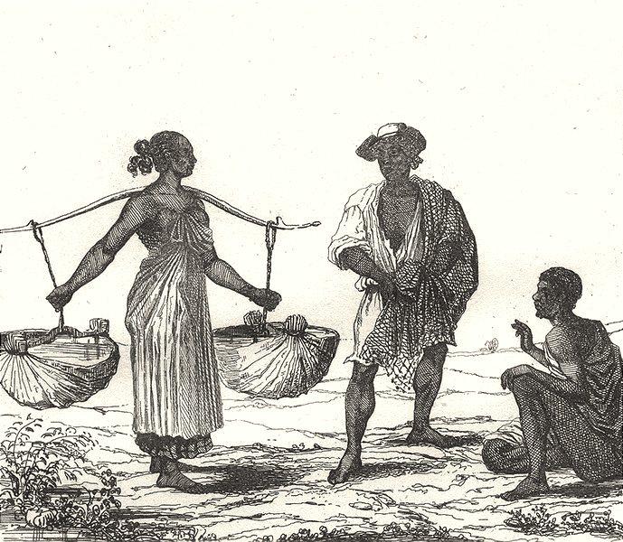 WEST INDIES. Martinique. Negres esclaves 1835 old antique print picture