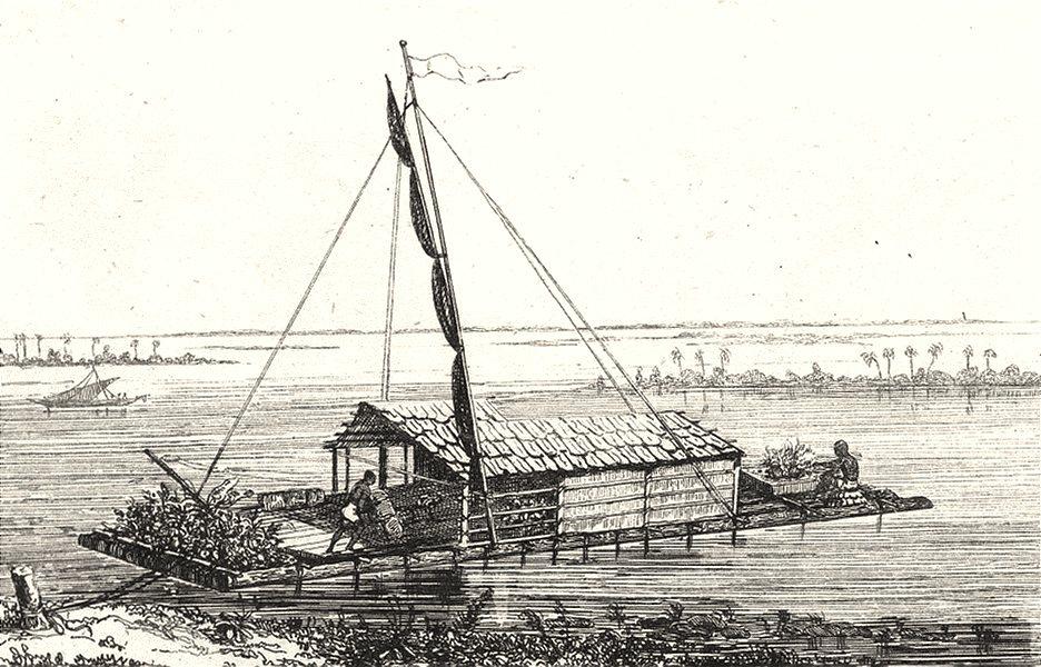 Associate Product GUYANA. Guadeloupe. Radeau Indien sur les fleuves de la Guyane 1835 old print