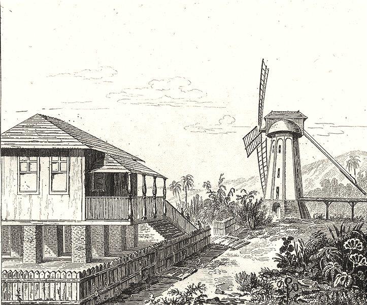 Associate Product W INDIES. Guadeloupe. Terreins mouillés; Maison sur piliers; Moulin sucre 1835