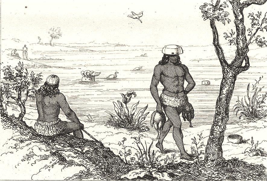 Associate Product W INDIES. Guadeloupe. Ruses Indiens pour prendre oiseaux aquatiques 1835 print
