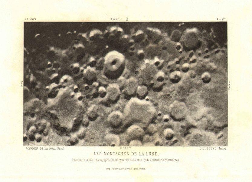 "Associate Product MOON. Showing ""Mountains"" (craters), Warren de Rue photograph 1877 old print"
