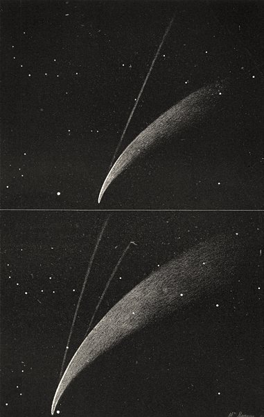 Associate Product DONATI'S COMET. Showing its secondary tails 1877 old antique print picture