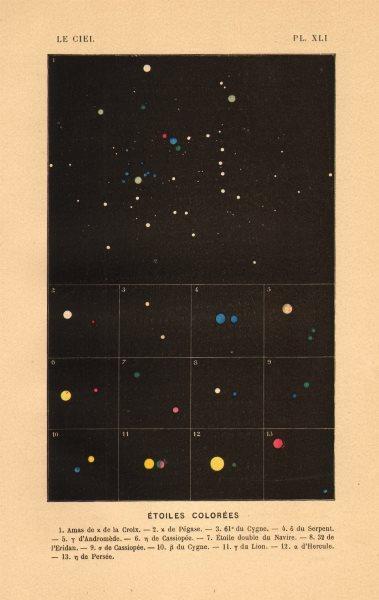 ASTRONOMY. Coloured Stars, Serpent Cross Pegasus Andromeda Swan Cassiopèc 1877