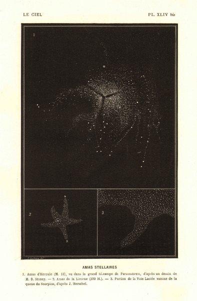Associate Product ASTRONOMY. Stellar Clusters, Hercules Birr, Unicorn, Scorpio 1877 old print