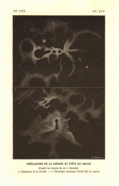 "Associate Product ASTRONOMY. Dorado nebula.  ""Êta du navire"" 1877 old antique print picture"