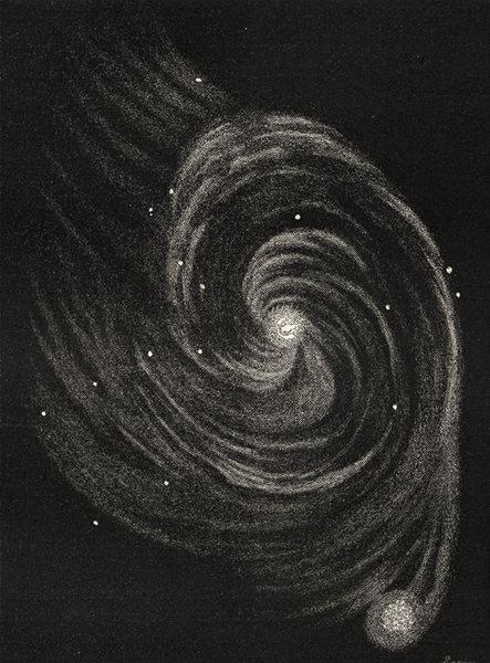 Associate Product ASTRONOMY. Running Dog Nebula IC1805 seen through Lord Rosse's telescope 1877
