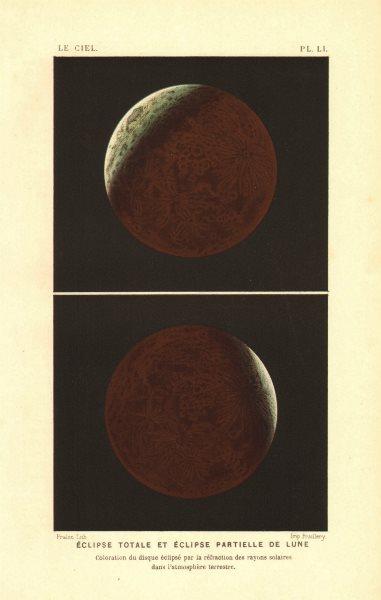 LUNAR ECLIPSE. Total & partial eclipse of the Moon. Colour lithograph 1877