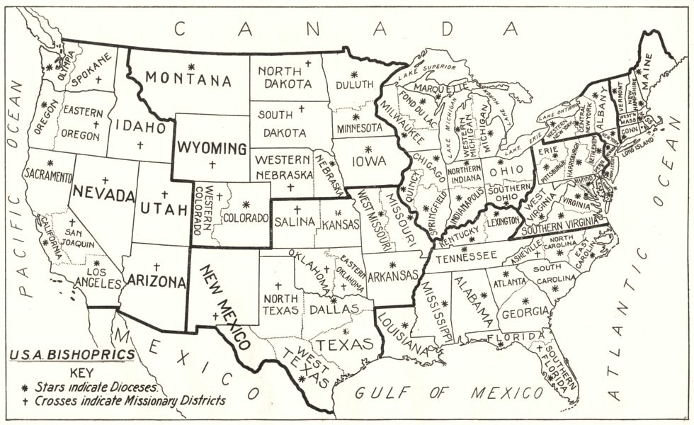 Associate Product USA. Bishoprics American Church. S. Stars Indicate Missionary Districts 1922 map