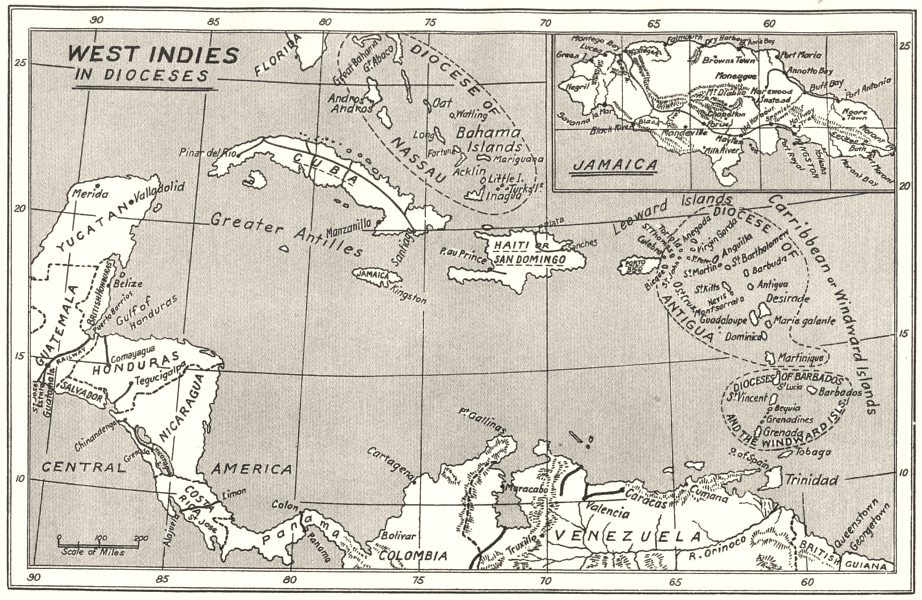 Associate Product WEST INDIES. West Indies in Dioceses; USA Bishoprics Church of England 1922 map