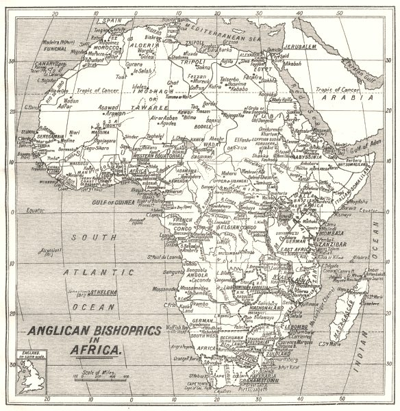 Associate Product AFRICA. Anglican Bishoprics in Africa 1922 old vintage map plan chart