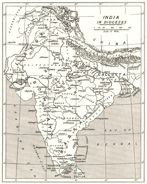 Associate Product INDIA. India in Dioceses. Anglican christian church 1922 old vintage map chart