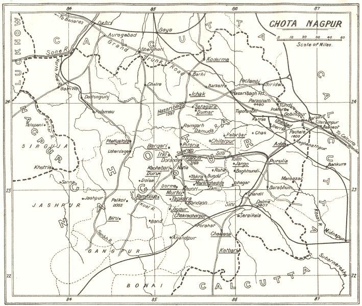 Associate Product INDIA. Chota Nagpur; main stations assisted S. .  1922 old vintage map chart