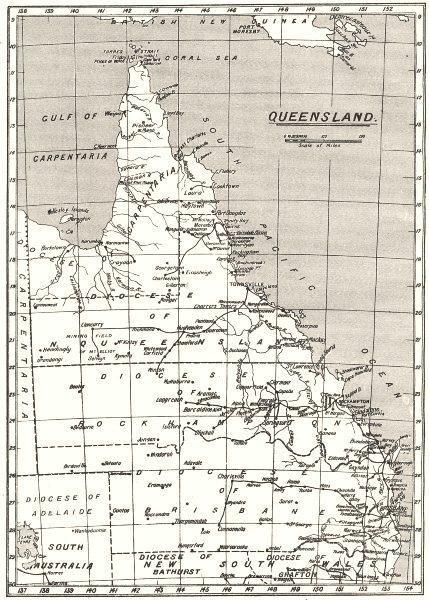 AUSTRALIA. Queensland . Dioceses 1922 old vintage map plan chart