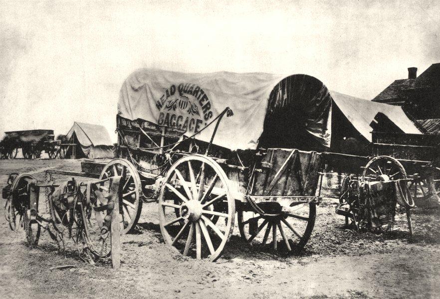 Associate Product US CIVIL WAR. Headquarters baggage wagon & saddlery; 1860- 1865. 1935 print